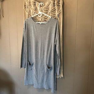 J. Jill grey and white striped dress size xl